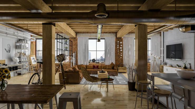 Diseño de Interior: Depas / Lofts.: Salas de estilo ecléctico por Mexikan Curious