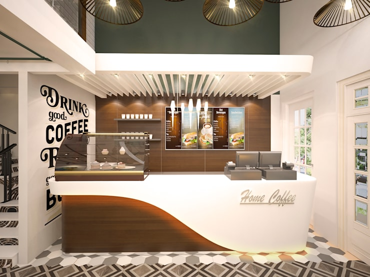 Home Coffee – Khu đô thị Phú Gia Compound Đà Nẵng:  Cầu thang by TNHH Tư Vấn Thiết Kế Và Xây Dựng Wiarc