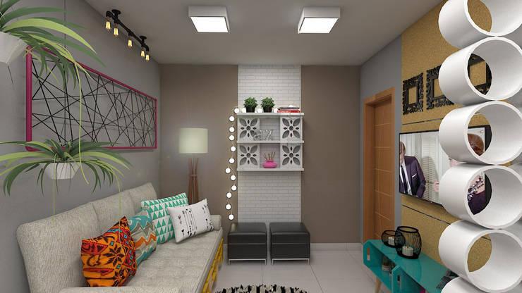 Sala de Estar: Salas de estar industriais por Plano A Studio