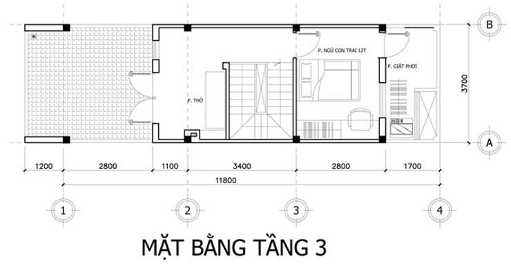 Nhà Ống 3 Tầng 52m2 Thiết Kế Đơn Giản Với Chi Phí 800 Triệu:  Nhà by Công ty TNHH Xây Dựng TM – DV Song Phát