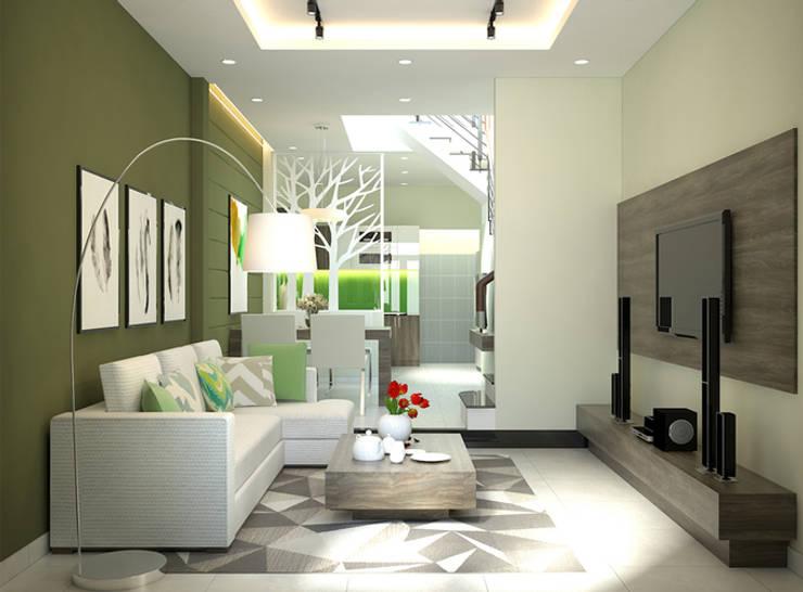 Nhà Ống 3 Tầng 52m2 Thiết Kế Đơn Giản Với Chi Phí 800 Triệu:  Phòng khách by Công ty TNHH Xây Dựng TM – DV Song Phát