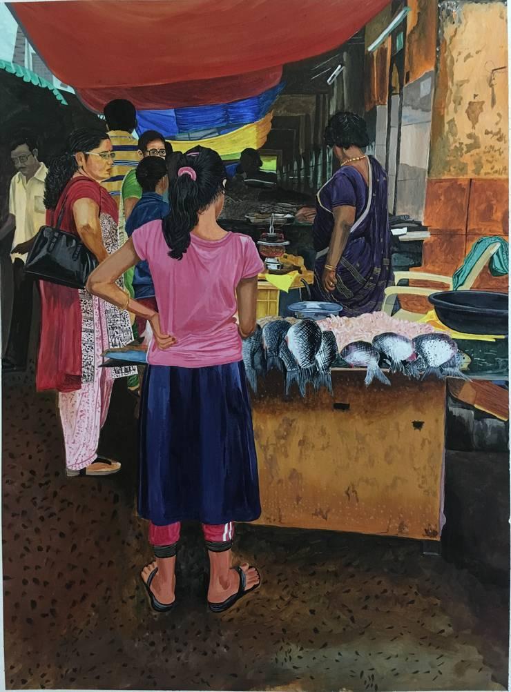 Fish market:  Artwork by Indian Art Ideas