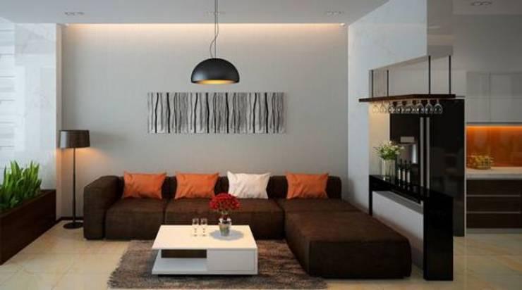 Phòng khách đơn giản ấm áp:  Phòng khách by Công ty TNHH Thiết Kế Xây Dựng Song Phát