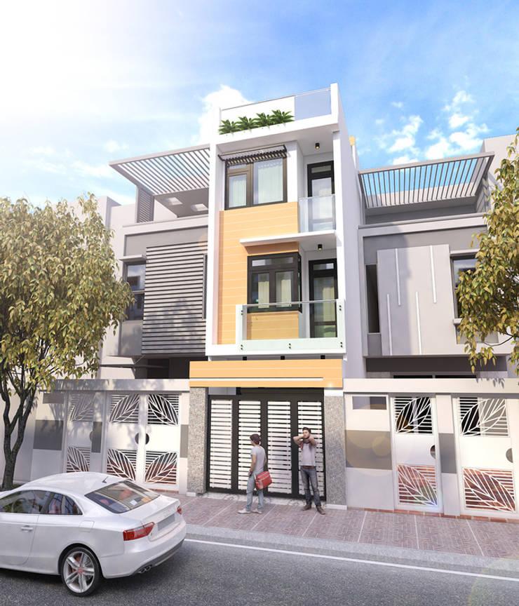 Phối cảnh mặt tiền ngôi nhà ống 4 tầng:  Nhà gia đình by Công ty TNHH Xây Dựng TM – DV Song Phát