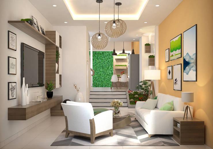 Màu sắc phòng khách vui tươi, tràn đầy năng lượng:  Phòng khách by Công ty TNHH Xây Dựng TM – DV Song Phát
