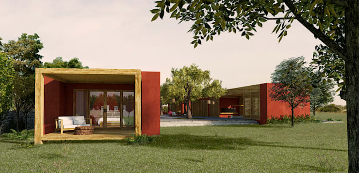 FACHADA FRONTAL: Casas de campo de estilo  por PROMENAD ARQUITECTOS