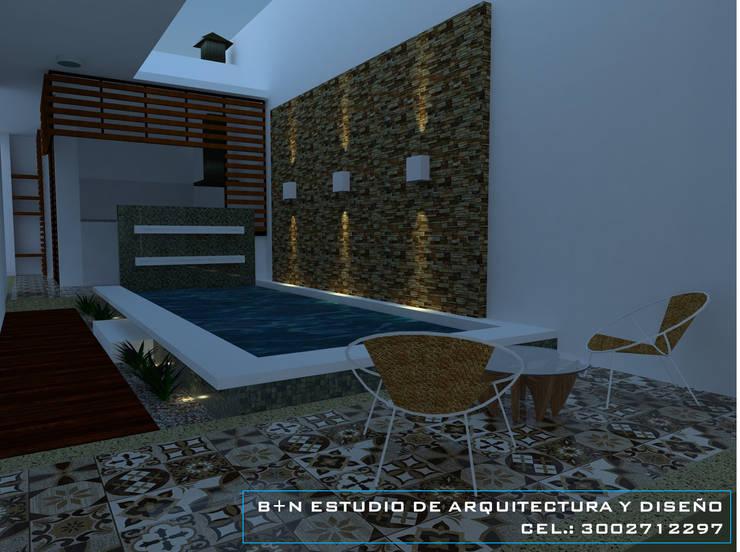 TERRAZA SOCIAL. Balcones y terrazas de estilo moderno de B+N Estudio de Arquitectura y Diseño Moderno