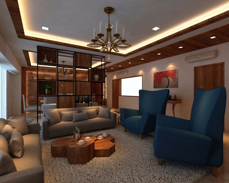 Ashish Rai Residence:  Living room by Midas Dezign,Asian