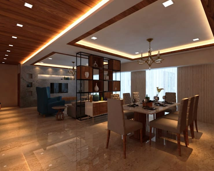 Ashish Rai Residence: asian Living room by Midas Dezign