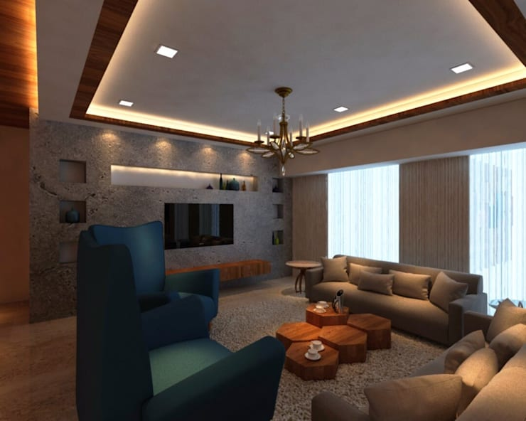Ashish Rai Residence: asian Living room by Midas Dezign