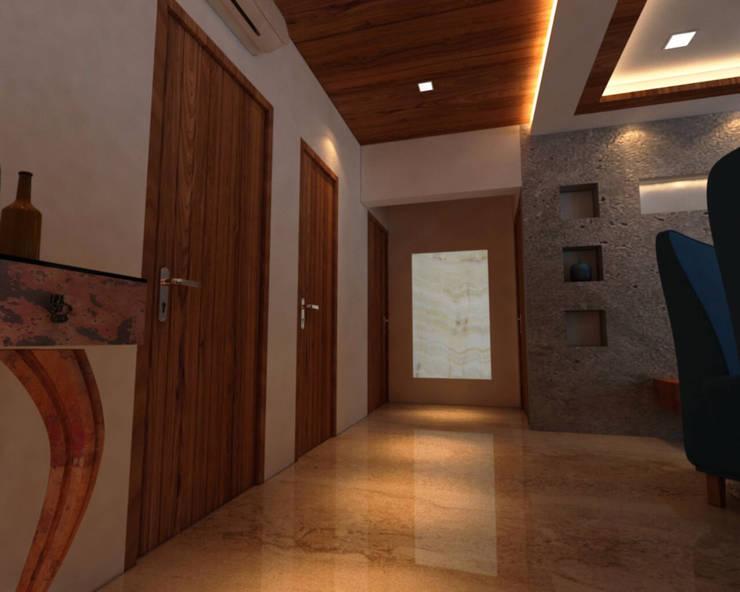 Ashish Rai Residence:  Corridor & hallway by Midas Dezign,Asian