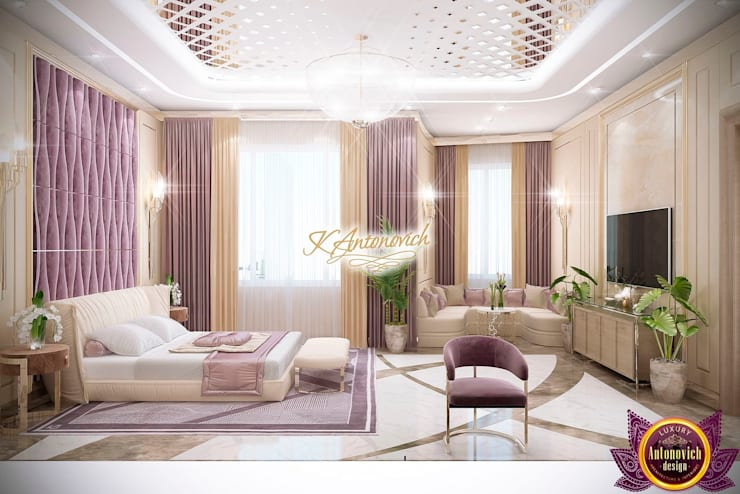 ​Bedroom decoration ideas by Katrina Antonovich:  Bedroom by Luxury Antonovich Design, Modern