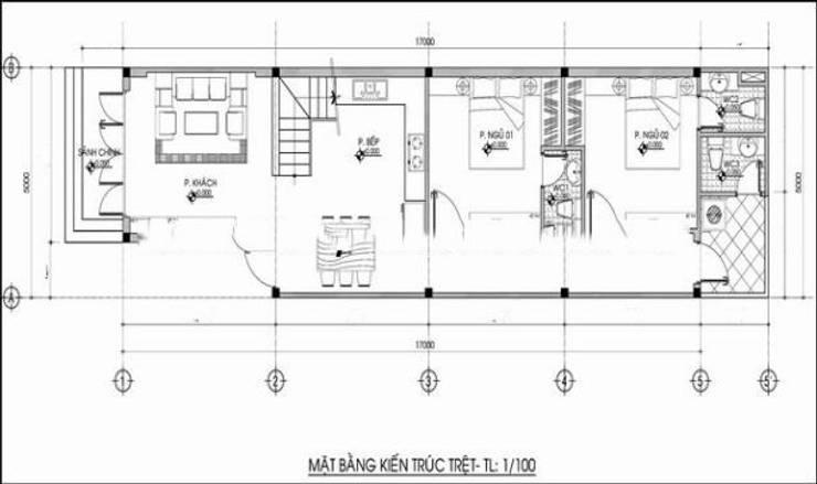 Bản vẽ mặt bằng tầng 1 nhà phố hiện đại.:  Nhà gia đình by Công ty TNHH Thiết Kế Xây Dựng Song Phát