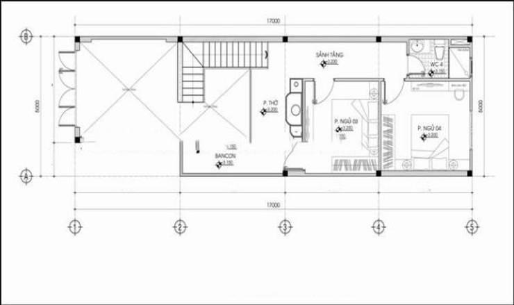 Bản vẽ mặt bằng tầng 2 nhà phố hiện đại.:  Nhà gia đình by Công ty TNHH Thiết Kế Xây Dựng Song Phát
