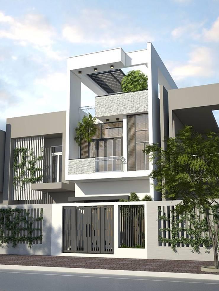 Mặt tiền ngôi nhà phố 2 tầng 5x20m:  Nhà gia đình by Công ty TNHH Thiết Kế Xây Dựng Song Phát
