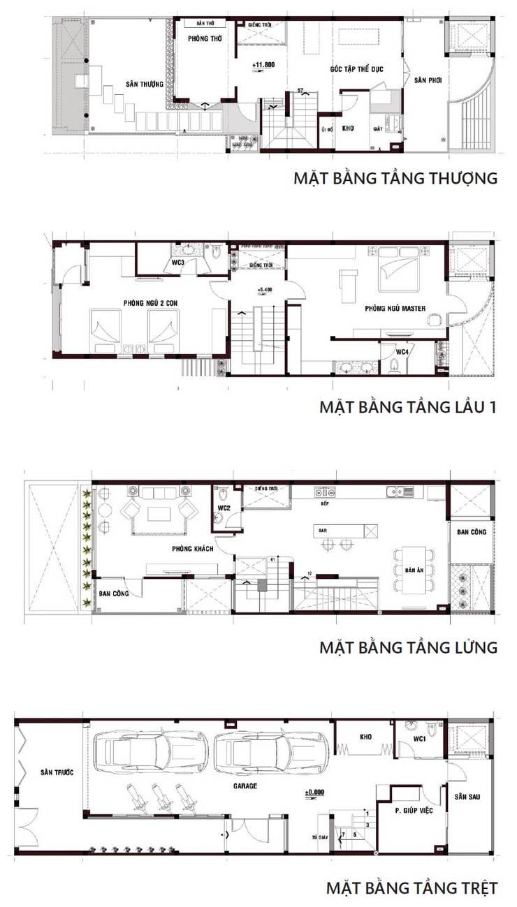 Bản vẽ mặt bằng ngôi nhà phố 3 tầng với giếng trời.:  Nhà by Công ty TNHH Thiết Kế Xây Dựng Song Phát