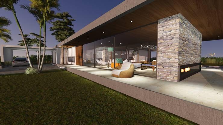 Ingreso - Espacio exterior - Galería Frontal : Casas unifamiliares de estilo  por Estudio A+I