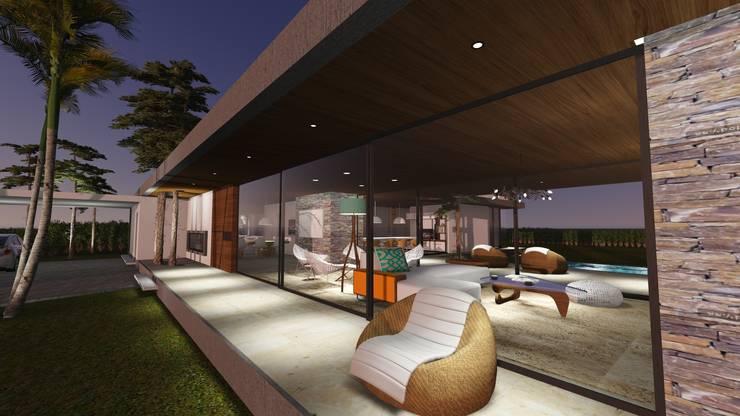 Ingreso - Espacio exterior - Galería Frontal : Casas de estilo  por Estudio A+I