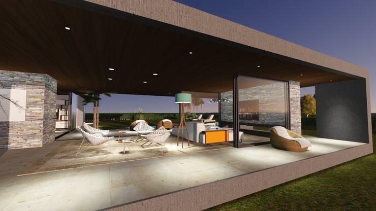 Exterior/interior comunicados : Casas de estilo  por Estudio A+I