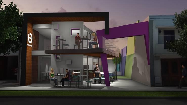 Fachada Locales Comerciales: Escaleras de estilo  por Estudio A+I