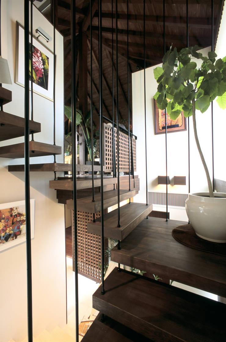 Escalier de style  par 株式会社 ギルド・デザイン一級建築士事務所, Asiatique Bois Effet bois