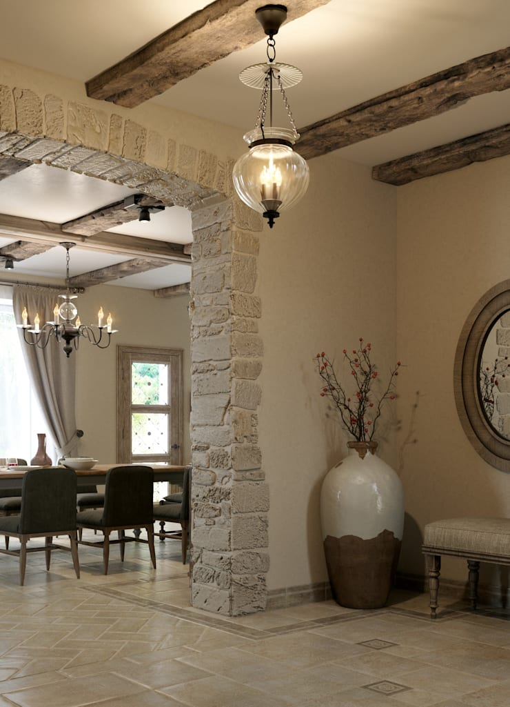Dining room by EJ Studio, Mediterranean