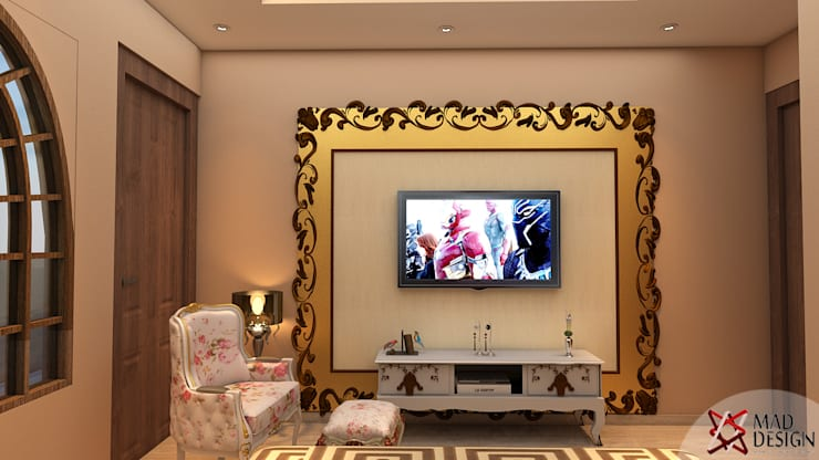 Project Guest House @HauzKhasVillage by MAD DESIGN:  Media room by MAD DESIGN