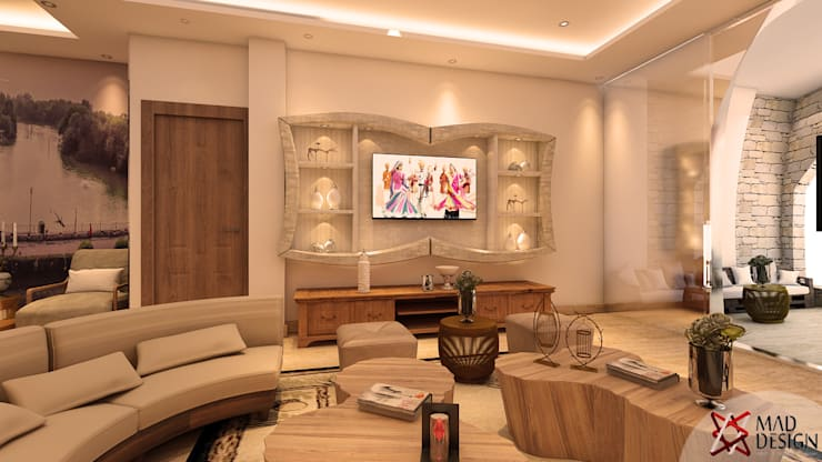 Project Guest House @HauzKhasVillage by MAD DESIGN:  Living room by MAD DESIGN