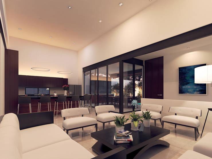 Casa VMC: Salas de estilo moderno por Heftye Arquitectura