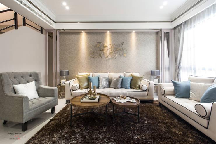 良勳建設-蕾夢湖 II:  客廳 by SING萬寶隆空間設計