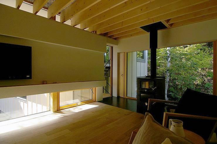 イヌエンジュの家: 株式会社 ATELIER O2が手掛けたリビングです。