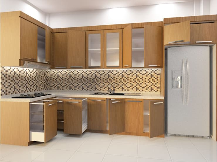 kitchen set design:   by Eswae Interior