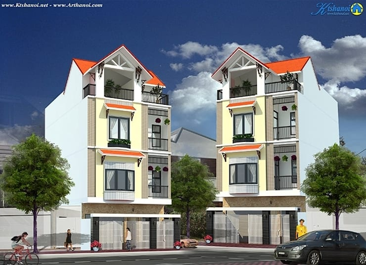 Thiết kế biệt thự đẹp 4 tầng diện tích 7x11m:   by Văn phòng kiến trúc Ktshanoi