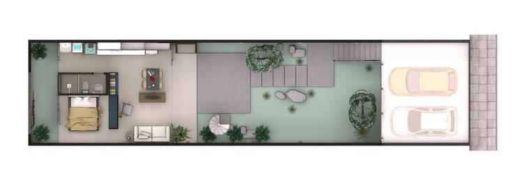 Planta da casa:   por ODVO Arquitetura e Urbanismo