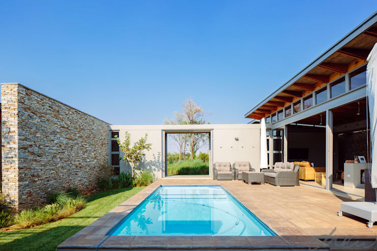 modern lodge:  Garden Pool by drew architects + interiors