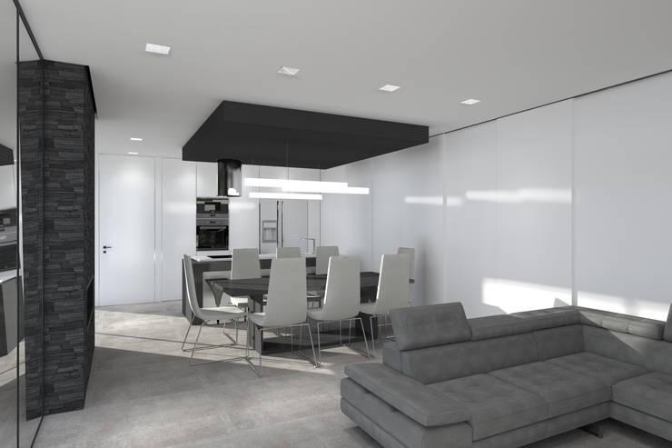 Open-space, sala de estar, jantar e cozinha equipada com ilha: Salas de estar  por Magnific Home Lda