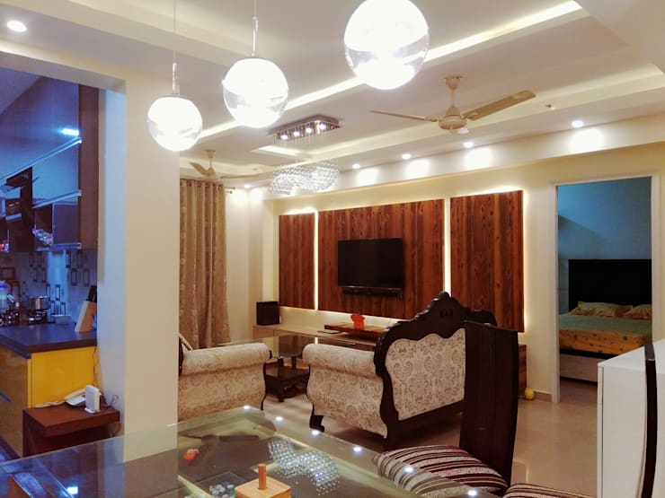 DLF Westend Heights—A1124: modern Living room by Pebblewood.in