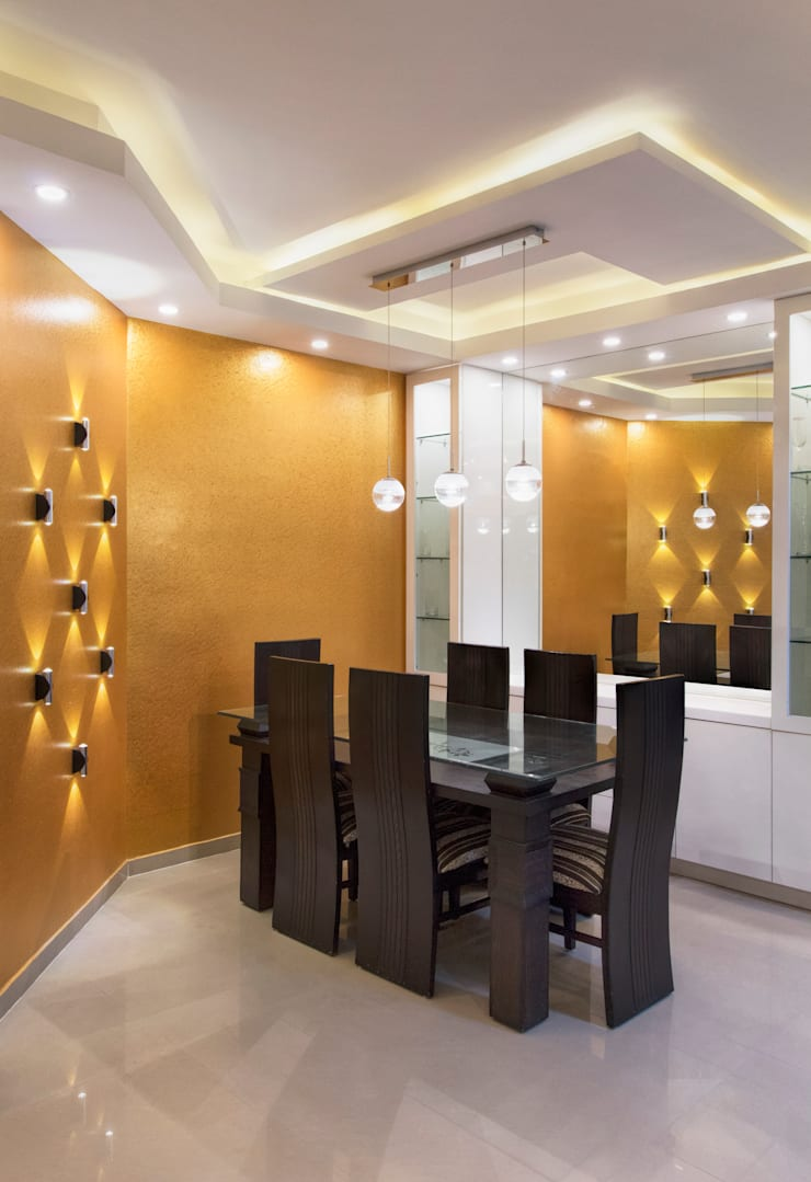 DLF Westend Heights—A1124: modern Dining room by Pebblewood.in
