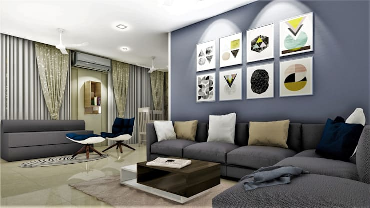 PROPOSED APARTMENT INTERIOR AT KONDHWA, PUNE. : modern Living room by DESIGN EVOLUTION LAB