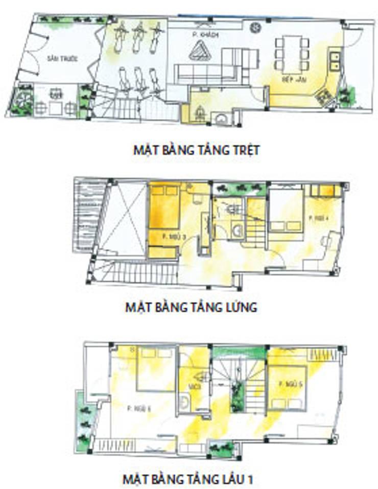 Bản vẽ thiết kế kiến trúc không gian nhà phố.:  Nhà by Công ty TNHH Thiết Kế Xây Dựng Song Phát