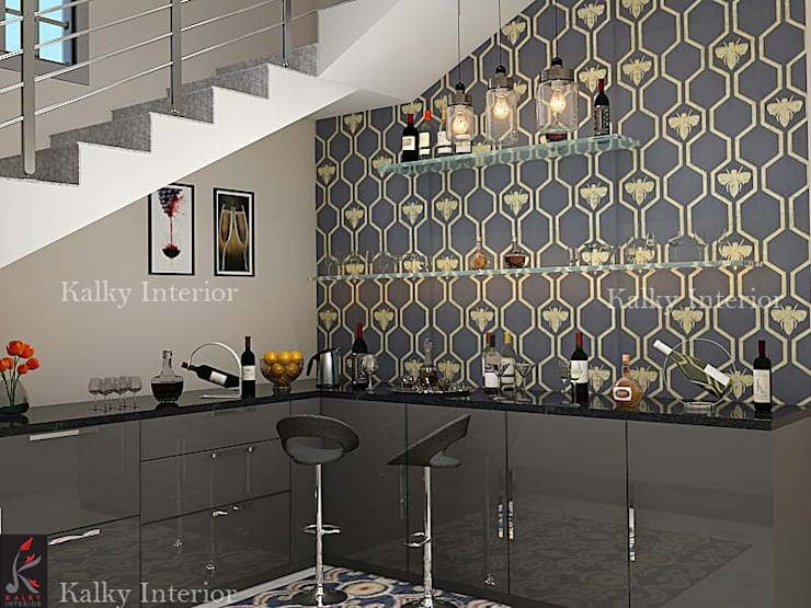 bar area:  Wine cellar by kalky interior