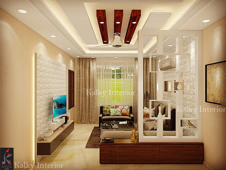 Drawing room with wooden partition:  Living room by kalky interior