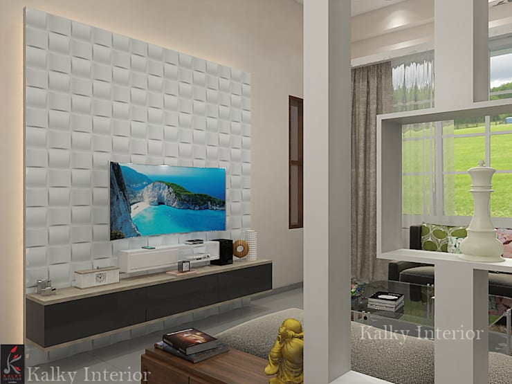 Duplex interior, Bhubaneswar:  Living room by kalky interior