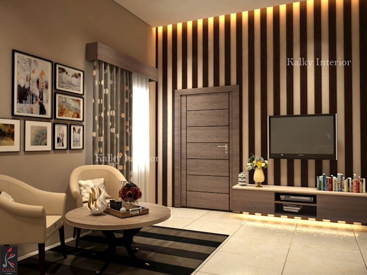Duplex interior, Bhubaneswar:  Bedroom by kalky interior