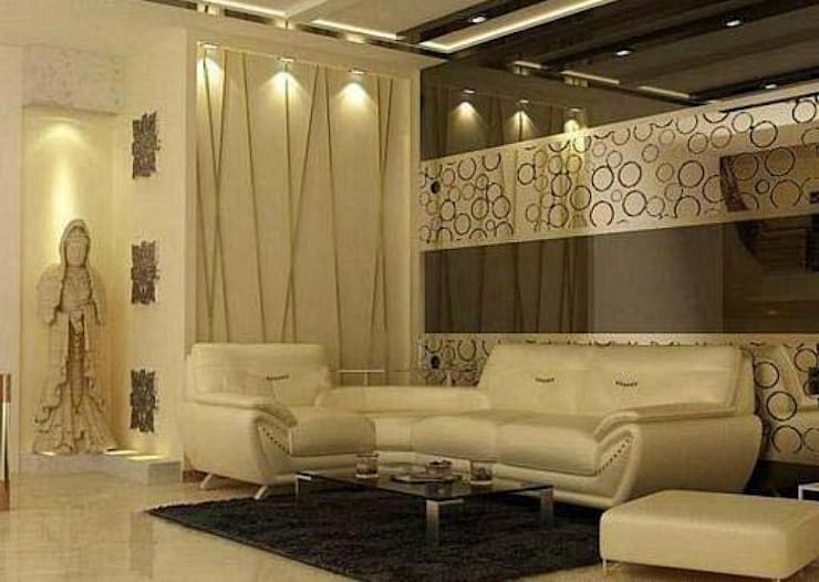 Residence in Gurgaon:  Living room by Archint Designs Pvt. Ltd.