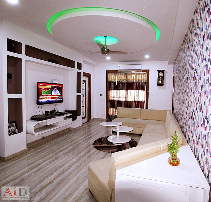 Residence in Indirapuram:  Living room by Archint Designs Pvt. Ltd.,Modern