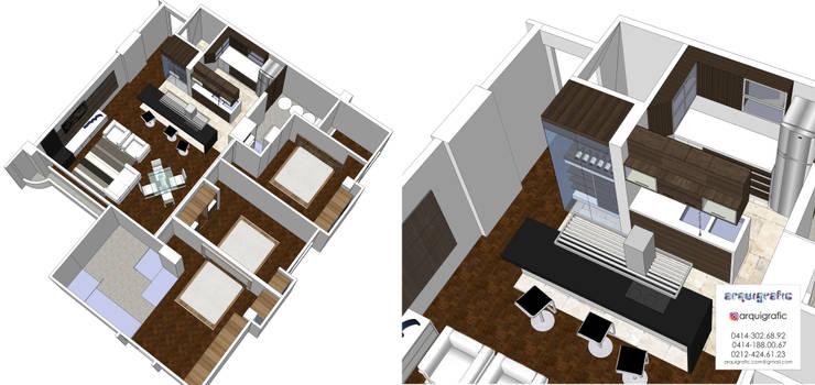 Proyecto Inicial 3D: Pisos de estilo  por Arquigrafic, c.a.