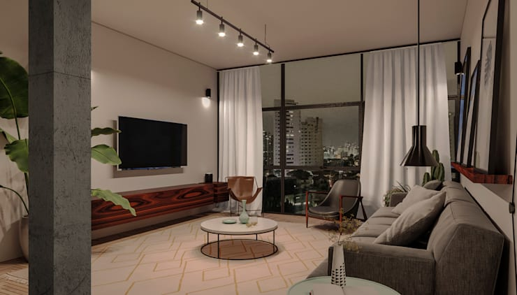 Vista da Sala : Sala de estar  por A Pino Arquitetos