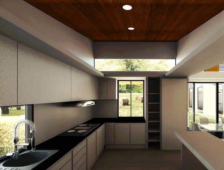 Casa La Buitrera: Casas campestres de estilo  por EXPERIMENTAL ARQUITECTOS S.A.S