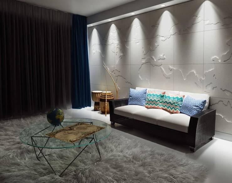 """3D Wandverkleidung """"MAP OF THE WORLD"""": moderne Wohnzimmer von Loft Design System Deutschland"""
